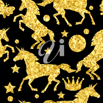 Seamless pattern with unicorns and gold glitter texture.