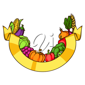 Harvest decorative element. Autumn illustration with ribbon, seasonal fruits and vegetables.