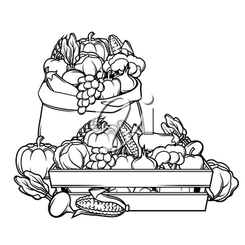 Harvest illustration with seasonal fruits and vegetables.