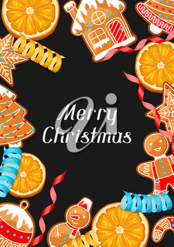 Merry Christmas greeting card with various gingerbreads.