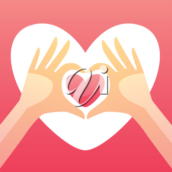 Happy Valentine Day greeting card. Background with hands holding heart.