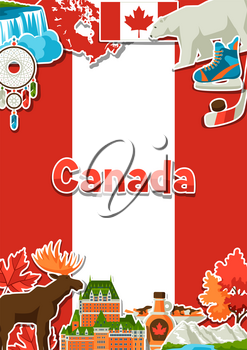 Canada sticker background design. Canadian traditional symbols and attractions.