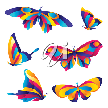 Set of butterflies. Colorful bright abstract insects.