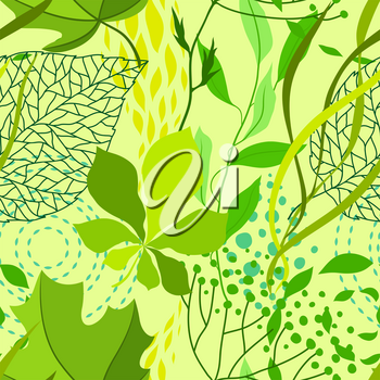 Seamless nature pattern with stylized green leaves. Nature illustration.
