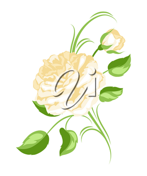 Decorative element with yellow roses. Beautiful flowers, buds and leaves.