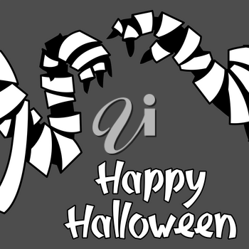Happy Halloween greeting card with mummy. Illustration or background for holiday and party.