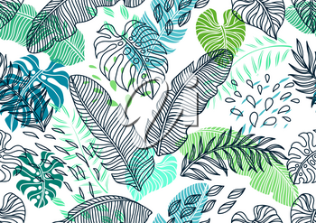 Seamless pattern with palm leaves. Decorative image of tropical foliage and plants.
