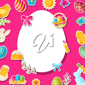 Happy Easter greeting card with holiday stickers. Decorative symbols and objects, eggs, bunnies.