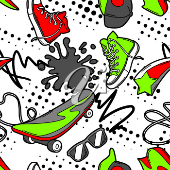 Seamless pattern with cartoon sneakers, skateboard and baseball cap. Urban colorful teenage creative background. Fashion symbols in modern comic style.