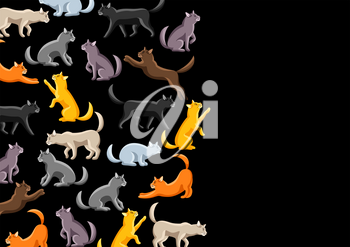 Background with stylized cats in various poses. Cute kitten illustration.