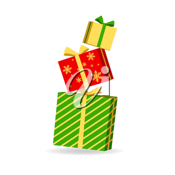 Vector illustration of gift boxes. Isolated on white background.