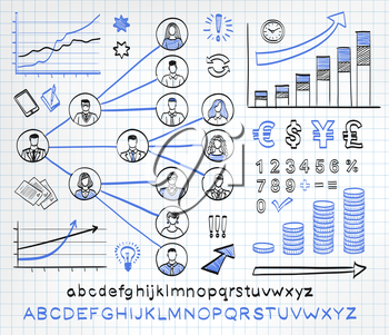 Business doodle set on paper background. Vector hand drawn sketch icons in black and blue colors. Business team. Hand drawn letters of alphabet and numbers.