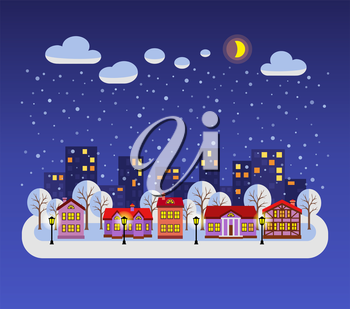 Winter night. Flat style vector illustration of Christmas city. New year and Xmas Holidays design.