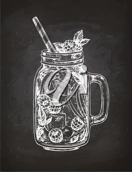 Lemonade with raspberry in mason jar. Chalk sketch on blackboard background. Hand drawn vector illustration. Retro style.