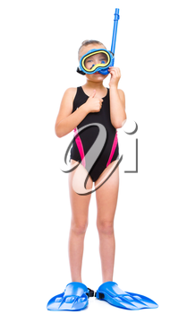 Happy girl with snorkel equipment, isolated over white