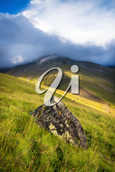 High mountain range. Natural landscape