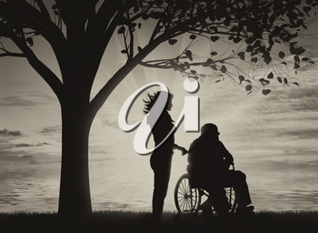 Disabled persons in wheelchair and nurse under tree near sea black and white. Concept of disability