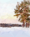 Landscape with pine trees at dawn in the polygonal style.