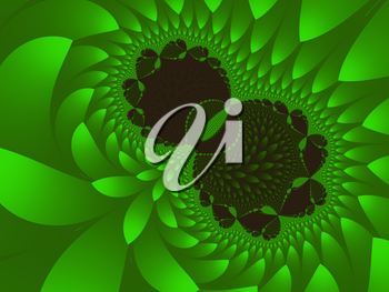 Computer-generated fractal is a beautiful green, like a half apple.