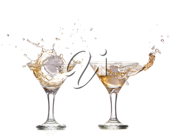 alcohol cocktail with splash of ice isolated on white