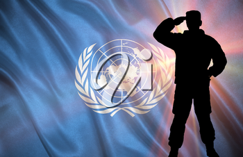 Flag with original proportions. Flag of the UN