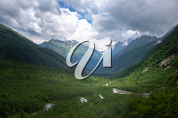 Green river valley canyon wide summer panorama North Caucasus landscape, Dombai, Russia. summer in the mountains