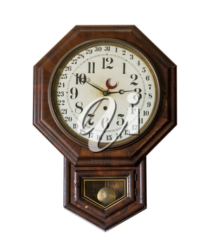 Isolated ornate and complex clockwork wall clock with date indication in Interior of Meeks Store in the national park at Appomattox Virginia