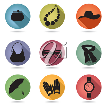 Female accessories silhouette set. Hipster icon collection. Buttons set.