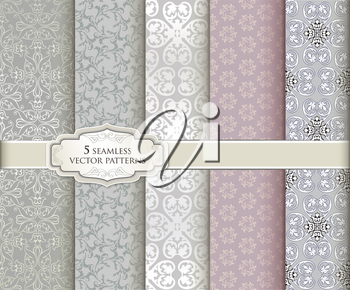 Floral seamless pattern set in vintage style. Abstract vector texture. Geometric backgrounds collection.