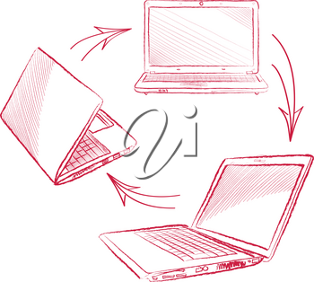Laptop set. Computer hand drawn sketch doodle engraved illustration. Gadget different view isolated on white background