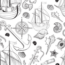Marine life seamless pattern. Sailing ship, Seashell, anchor, compass. Ocean  background
