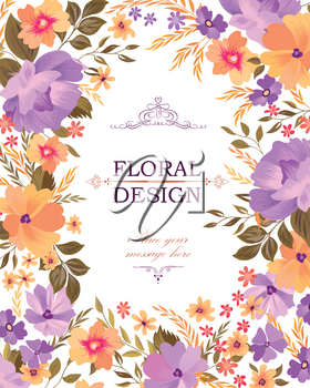 Floral frame pattern. Flower bouquet background. Greeting card design with flowers.