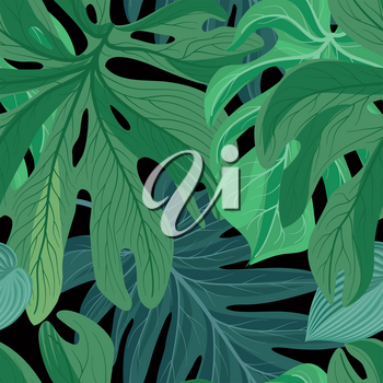 Floral seamless pattern. Tropical leaves background. Palm tree leaf nature backdrop