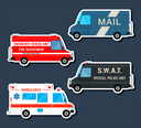 Set various city urban traffic vehicles icons. Mail delivery van, ambulance truck, fire department car, swat police bus isolated. Side view. Vector illustration.
