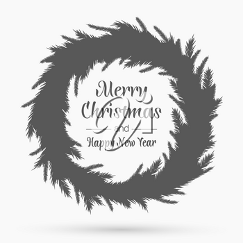 Christmas wreath template. Happy new year. Winter symbol. Decorative element for brochure, flyer, greeting card. Vector simple design illustration