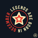 T-shirt print design. Legends are born in December vintage t shirt stamp. Badge applique, label t-shirts, jeans, casual wear. Vector illustration.