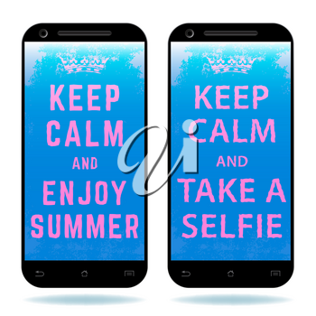 Smartphone with text Keep Calm and Enjoy Summer - Take a Selfie. Vector illustration.