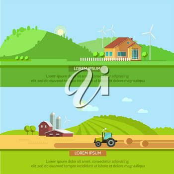 Set vector illustration ecotourism, flat style. Rural landscapes with fields and hills. Tractor in the field harvests. Eco travel concept