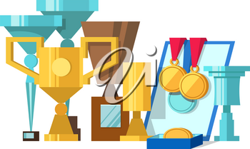 Vector illustration of set of awards, medals, diplomas and award certificate. Gold and silver cups award trophy and medals for the winner. Vector stok illustration
