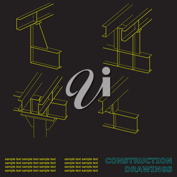 Construction drawings. 3D metal construction. The beams and columns. Cover, background for inscriptions
