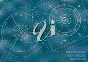 Mechanical engineering drawings. Background for inscription. Vector. Blue and white