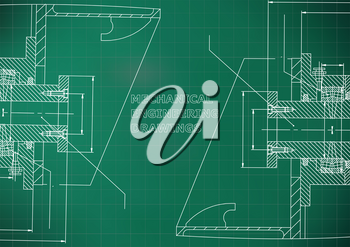 Mechanical engineering. Technical illustration. Backgrounds of engineering subjects. Light green background. Grid