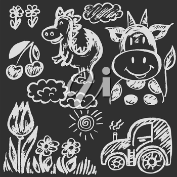 Cute childish drawing with white chalk on blackboard. Pastel chalk or pencil funny doodle style vector. Cow, dinosaur, flowers, tractor