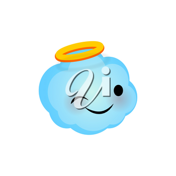 Vector illustration wink cloud smile icon. Face emoji blue angel cloud icon. Smile cute funny emotion face on transparent background. Happy feelings, expression for message, sms.