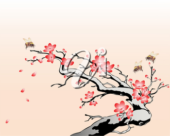 flowering cherry branch with flying bees