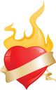 glossy red hearts with ribbon and fire for valentine's day