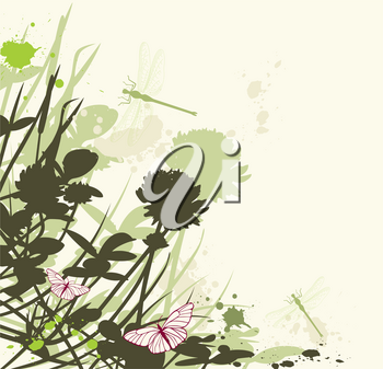 vector floral background with clover flowers and dragonfly