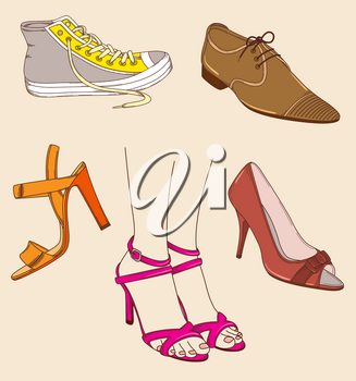 Vector hand drawn female legs and different shoes