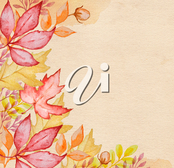 Watercolor autumn background with red and orange autumn leaves