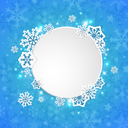 Abstract round Christmas banner with white paper snowflakes on a blue background. Vector illustration.